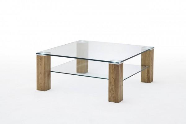 """Couchtisch """"Tulsa"""" - Tisch Glastisch Klarglas Massivholz Asteiche 90x40x90 cm 20kg"""