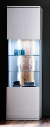 """Vitrine """"Luzie"""" Highboard Glaselement, weiß hochglanz/ weiß matt, 60x207x37cm, Schrank"""