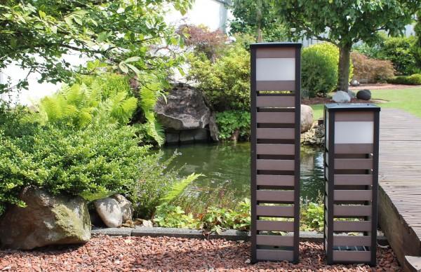 """2er Set Solarleuchte """"Style"""" 60+ 80 cm Gartenleuchte Solarlampe Standsolarleuchte"""