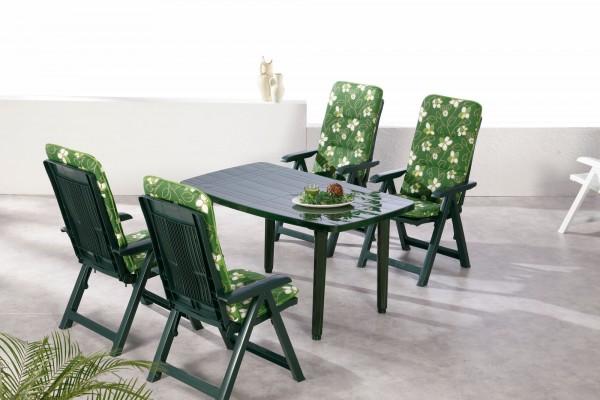 "Gartengruppe ""Pina"" 9-tlg. grün Tisch 4xKlappsessel inkl. Auflage Essgruppe Gartenset Diningset"