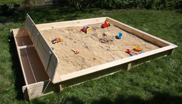 """Sandkasten """"Benni"""", Kiefer, 225 x 253 x 21 cm, Kindersandkasten, Garten, Spielzeug, Kinderspielzeug"""