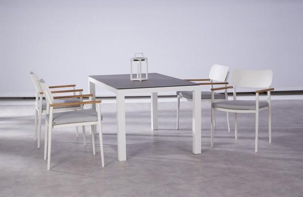 """Gartengruppe """"Finn I"""" 9-tlg. weiss/grau Tisch 160x90cm 4xStapelsessel inkl. Sitzkissen Sitzgruppe"""