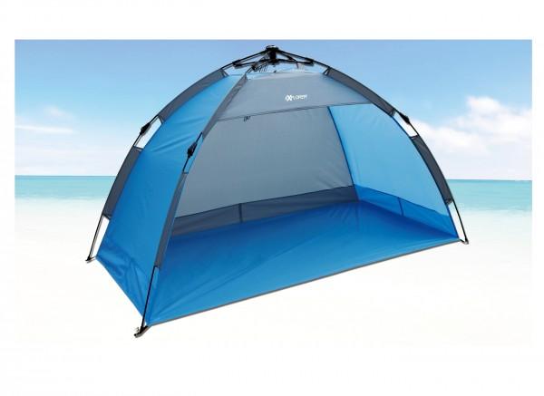 "Strandmuschel ""Sunday"" 190x100x110cm blau Automatik Polyester Sonnenschutz UV 80+"