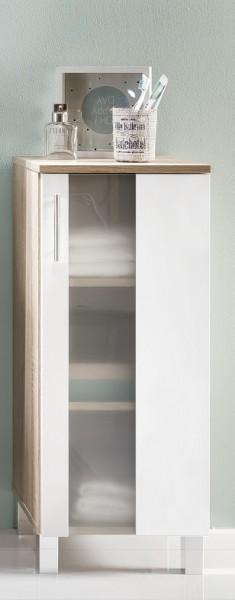 """Standschrank """"Ines"""", Eiche sägerau/weiß Melamin, Badezimmerschrank, 33 x 80 x 31 cm"""