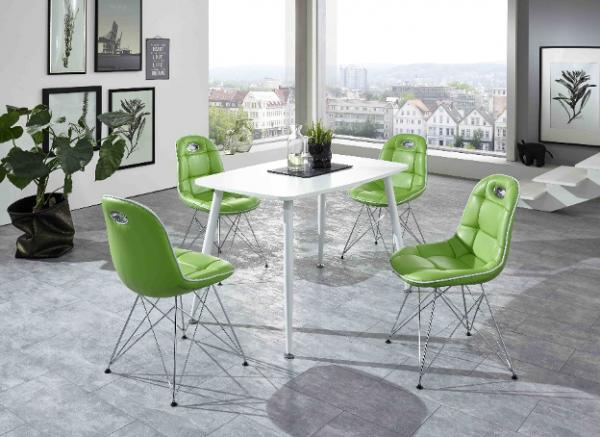 """Tischgruppe Set """"Ambrosia VII"""" 4 Stühle Lederoptik grün/ Vierfusstisch weiß Essgruppe"""