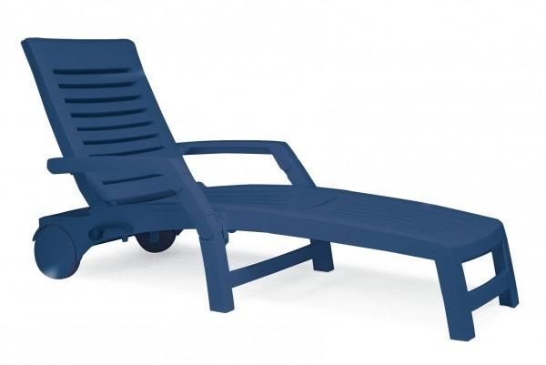 """Rollliege """"Sam"""" 75x199x94cm Kunststoff blau m. Aufbewahrungsbox Gartenliege Gartenmöbel"""