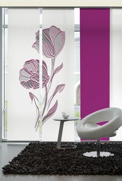 Emotion Textiles Flächenvorhang Schiebevorhang 2er Set Strichblume Orchidee 120 x 260 cm