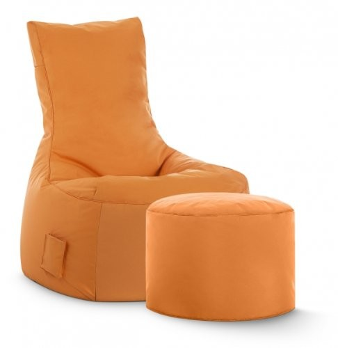 Sitzsack Set XXL Scuba Swing plus Hocker Dot.Com, Outdoor & Indoor wasserabweisend orange