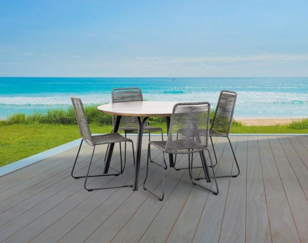 "Gartengruppe ""Sina"" 5-tlg. anthrazit/grau Tisch rund ∅120cm 4xStapelsessel Strick-Optik Sitzgruppe"