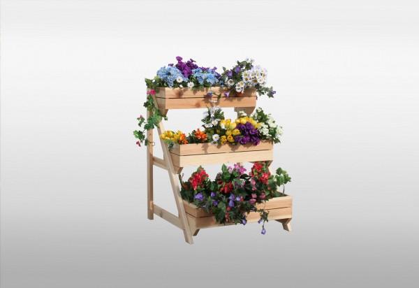 """Pflanzteppe """"Claudia"""", Kiefer, natur, 80 x 75 x 100 cm, mit Pflanzkästen, Dekopflanztreppe, Garten"""