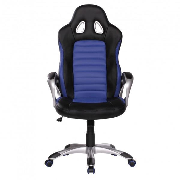 "Bürostuhl ""Sam"", blau/schwarz, Kunstleder, Schreibtischstuhl, Gamingstuhl, Drehstuhl, Sessel"