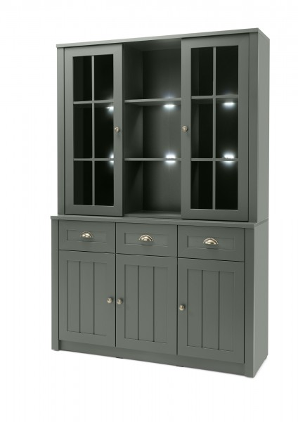 "Buffetschrank ""Monde"" Holzdekor grün 130x196x35-43cm Sideboard"