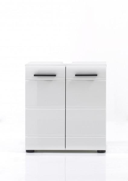 """Waschbeckenunterschrank """"Laurenz"""", 60 x 56 x 31 cm, weiß/weiß HG, Badschrank, Badezimmer"""