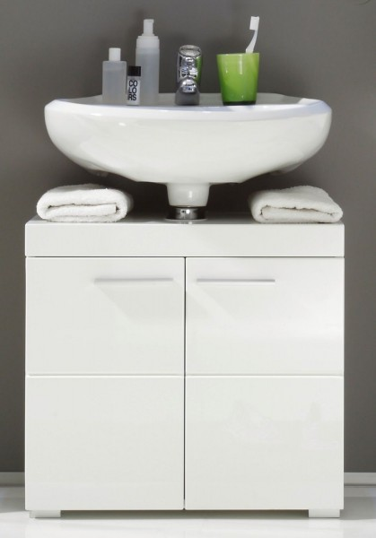 Waschbeckenunterschrank 'Kuranda', Hochglanz weiss, 60x56x34 cm
