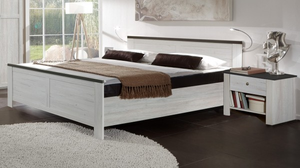 """Futonbett """"Sweetness"""" Bett, Weißeiche Nachbildung, Lavafarbig, verschiedene Größen, Weißeiche Nachbi"""