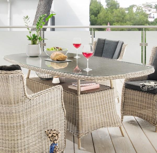 """Tisch """"Honey"""", vintage weiß, oval, 200 x 100 x 75 cm, mit Glasplatte, Gartentisch, Balkon, Garten"""