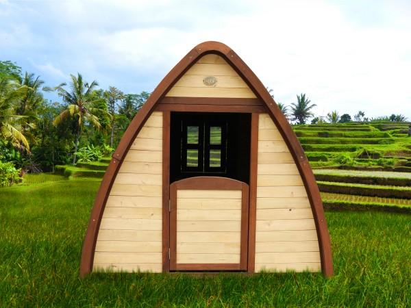 """Holz-Spielhaus """"Solvig"""" 145x120x134cm aus Zypresse in braun"""