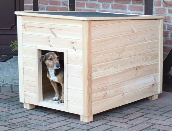 "Hundehütte ""Carlo"" 108x74x80cm Kiefernholz massiv naturfarben Hütte Hund Garten"
