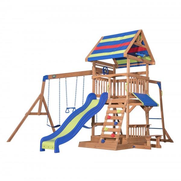 """Holzspielhaus """"Tamas"""" groß inkl. viele Spielmöglichkeiten 438,5x429,6x300,4cm"""