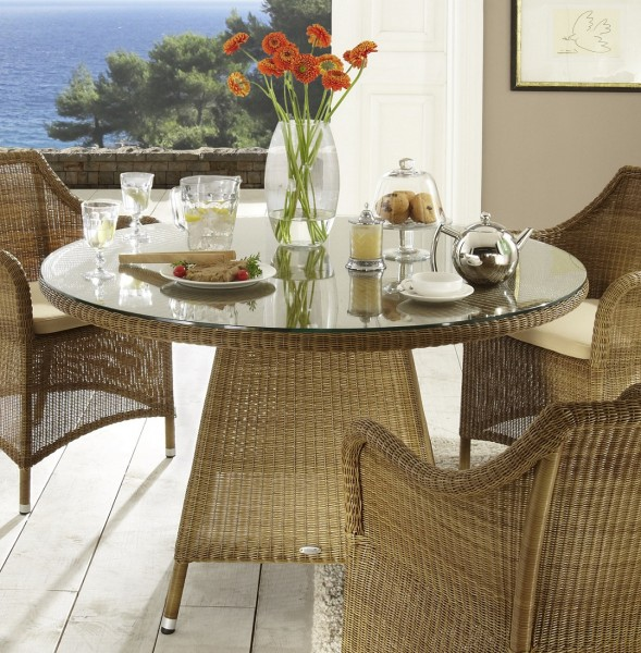"""Tisch """"Florenz"""", natur, 120x120x75 cm, Glasplatte, Terrassentisch, Gartentisch, Balkontisch, Garten"""