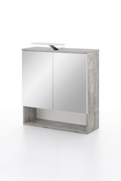 """Spiegelschrank """"Ina"""", Beton/weiß Hochglanz, 1 Fach, 2 Spiegeltüren, 65x79x24cm"""