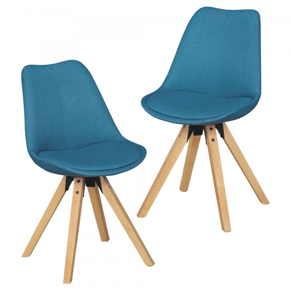 "2er Set Stuhl ""Sola VII"" Rubberwood 48x89x42cm Küchenstuhl Esszimmerstuhl"