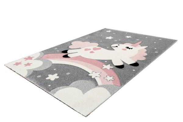 """Kinderteppich """"Unicorn"""" rosa 80x150cm 120x170cm Teppich Kurzflorteppich Spielteppich"""