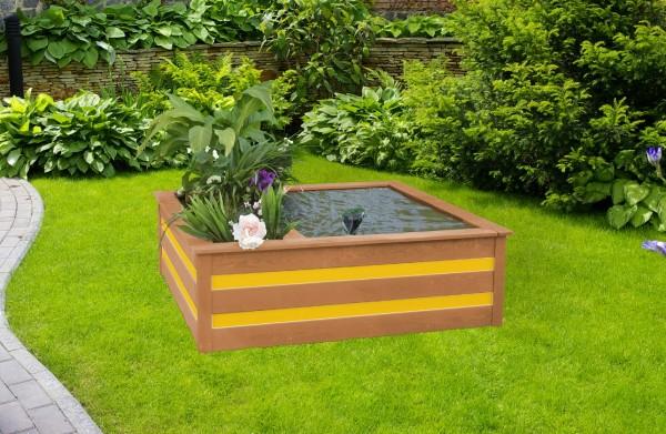 """Hochteich """"Gabby"""", honigbraun/gelb, 130 x 130 x 42 cm, Teich, Gartenteich, Gartenhochteich, Garten"""
