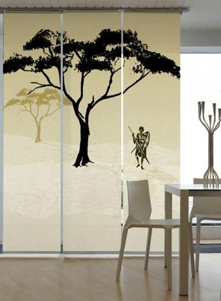 Emotion Textiles Flächenvorhang Schiebevorhang Afrika Massai Hell 3-er Set incl. Montagesatz