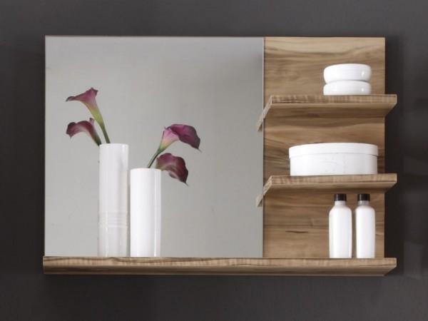 """Wandboard mit Spiegel """"Almina"""", Regal Badezimmer Nussbaum-Satin Nachbildung 72x57x20cm"""
