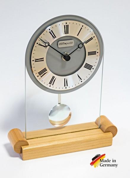 """Analoge Tischuhr Standuhr """"Rennes"""" Uhr mit Pendel, Standuhr, Küche, Wohnzimmer, Diele/Flur, 23x18 cm, in Buche"""