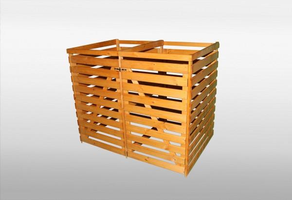 "Doppelmülltonnenbox ""Simon"" honigbraun Kiefernmassivholz 92x144x120cm Mülltonnenaufbewahrung"