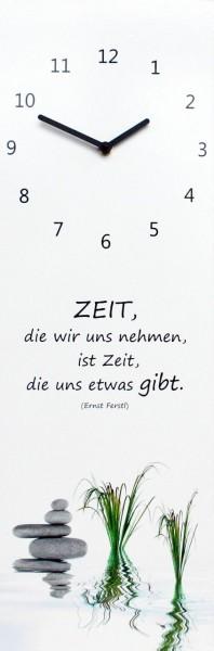 """Wanduhr Quartzuhr """"Wellness"""", MDF, Uhr, schwarz, weiss, Steine, """"Zeit die wir uns nehmen.."""" 60x20x5"""