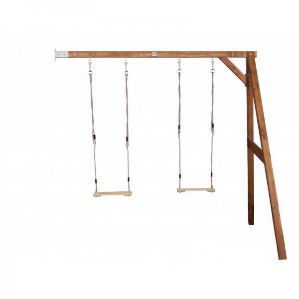"""Doppel-Anbauschaukel """"Webster"""" Doppelschaukel Hemlock Holz braun 160x244x207cm Schaukel"""