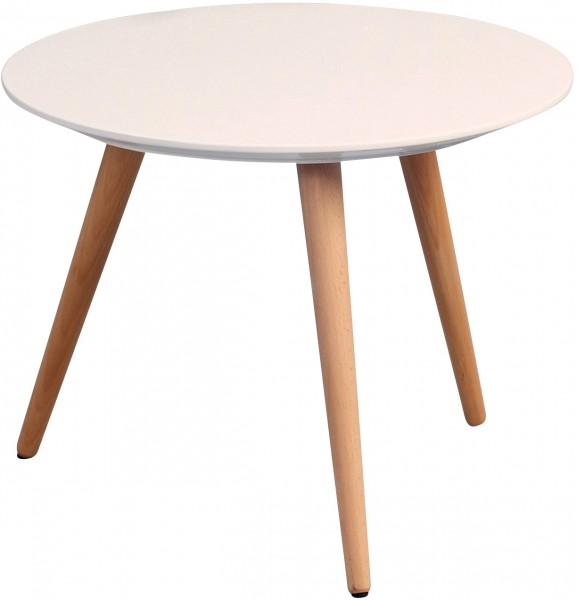 """Couchtisch """"Sid"""", matt weiß, Gestell massiv Holz, 36 x 50 cm"""