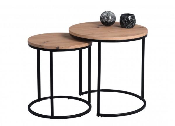 """Couchtisch """"Demelza"""" 2er Set D=50 & D=40cm Artisaneiche Wohnzimmertisch Tisch"""