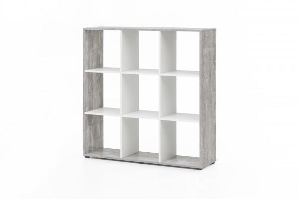 """Regal / Raumteiler """"Amadeus"""", Beton/weiß, 104,5 x 107,5 x 29 cm, 9 Fächer, Wohnzimmer, Regal"""