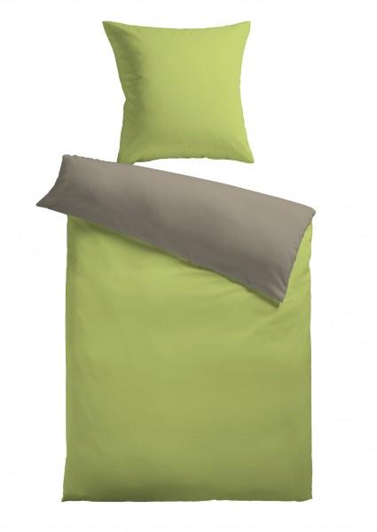 """Bettwäsche """"Bella"""" grün mit Reißverschluss Polyester Fleece 155x220cm Wendebettwäsche"""