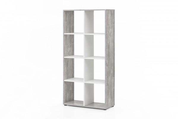 """Regal / Raumteiler """"Amadeus"""", Beton/weiß, 70 x 142,5 x 29 cm, 8 Fächer, Wohnzimmer, Regal"""