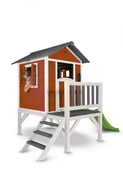 """Holzspielhaus """"Sun XL"""" mit Leiter + Rutsche 168x261x189cm aus Zedernholz in rot-weiß"""