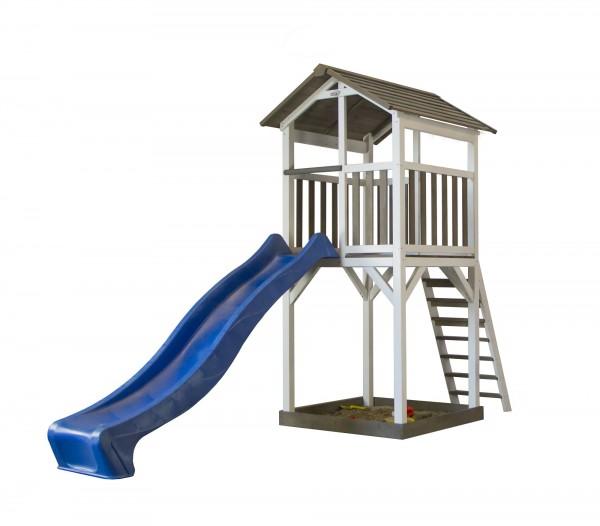 """Holzspielhaus """"Maui"""" mit Aussichtsplattform + Leiter + Rutsche + Sandkasten 101x349x242cm aus Holz"""