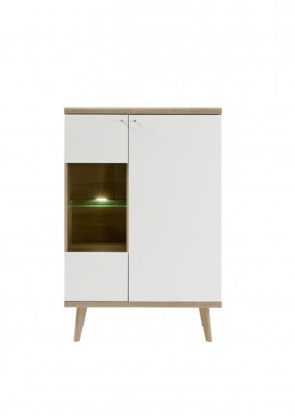 """Vitrine """"Scandic"""", Eiche Riviera NB/weiß matt, 90 x 134 x 40 cm, Wohnzimmer, Schrank, Möbel"""