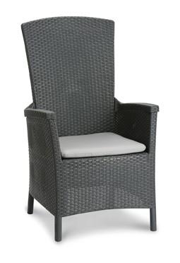"""Der Komfort-Garten-Sessel """"Meran"""" besteht aus stabilem Vollkunststoff und einem äusserst soften Touch, der das Sitzen besonders angenehm macht. Die schöne Geflechtoptik macht diesen Sessel zu einem Blickfang in Ihrem Garten. Die große Sitz- und Rückenlehn"""