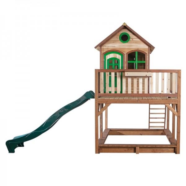 """Holzspielhaus """"Leon II"""" 255x377x291cm, Holz, braun-grün, Rutsche (grün)+Sandkasten"""
