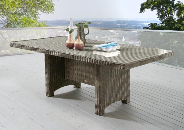 """Tisch """"Honey"""", vintage braun, rechteckig, 165 x 90 x 75 cm, Glasplatte, Gartentisch, Balkon, Garten"""