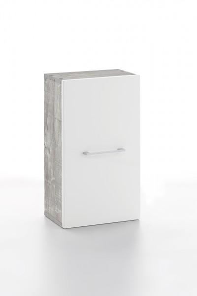 """Hängeschrank """"Ina"""", Beton/weiß Hochglanz, 1 Tür, 2 Fächer, 30 x 54,5 x 19,5 cm"""