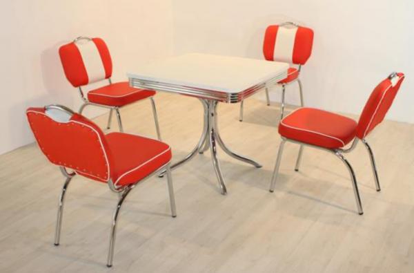 """Tischgruppe Set """"Nantucket"""" Diner Set rot/weiss Säulentisch klein 4xStuhl Küchenset"""