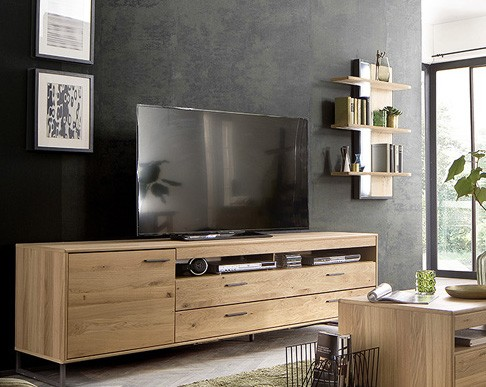 """Lowboard """"Piet I"""" Board gedämpfte Türen, Eiche Bianco NB, 224x67x50cm, Fernsehschrank"""
