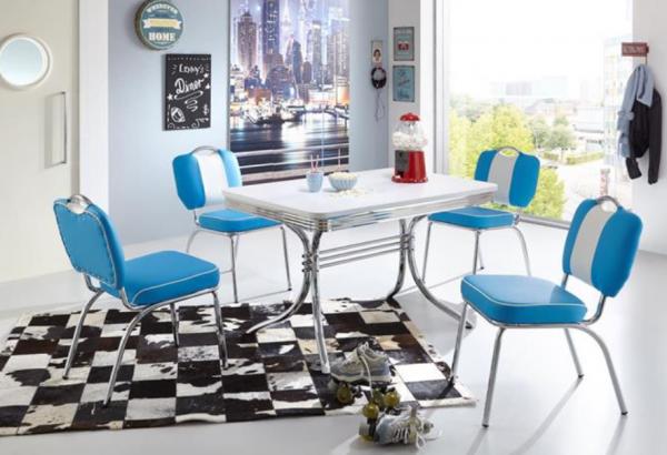 """Tischgruppe Set """"Kiawah II"""" Diner Set blau/weiss Vierfusstisch 4xStuhl Küchenset Essgruppe"""