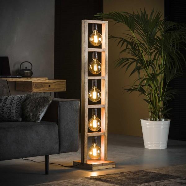 "Stehlampe ""Etowah"" 5 Lampen Akazienholz Lampe 28x28x135cm (B/T/H) Industrial Style Zijlstra"
